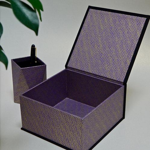 Coffret carré - Bulles dorées - violet