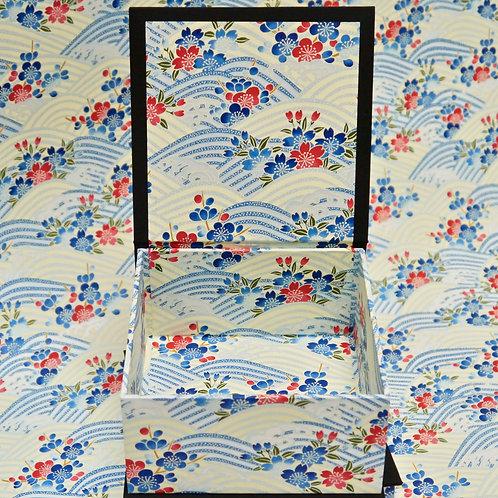 Coffret carré - Vagues Sakura Umé - bleu