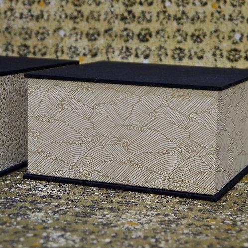 Coffret carré - Vagues dorées - blanc