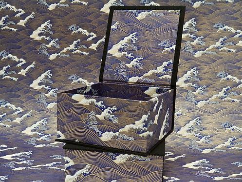 Coffret carré - Vagues Hokusai -bleu