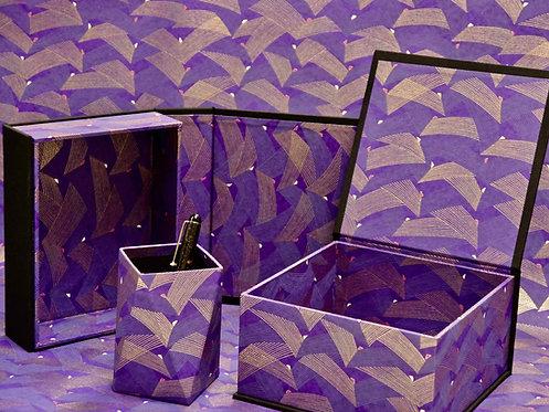 Coffret aimanté - Ailes violettes dorées