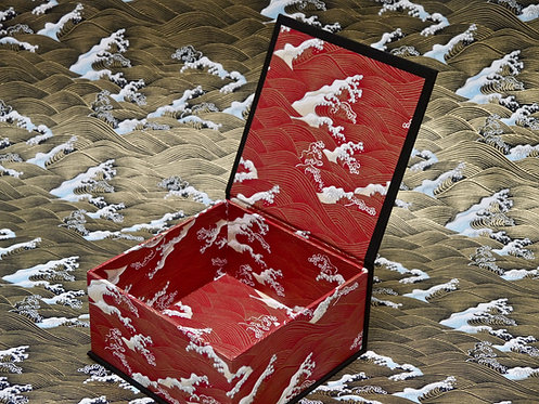 Coffret carré - Vagues Hokusai - rouge