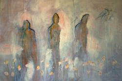 Three figures in a garden