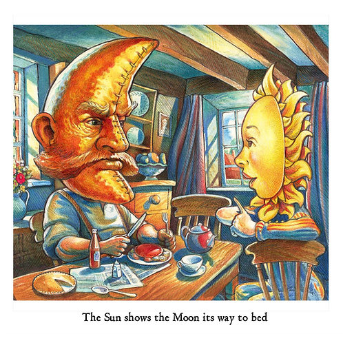 The Sun shows the Moon his way to bed Greetings Card