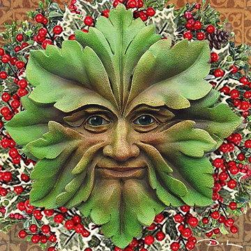 Greenman Star  SEASONAL - YULE - WASSAIL Greetings Card