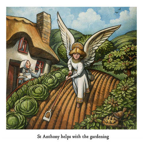 St Anthony helps with the gardening
