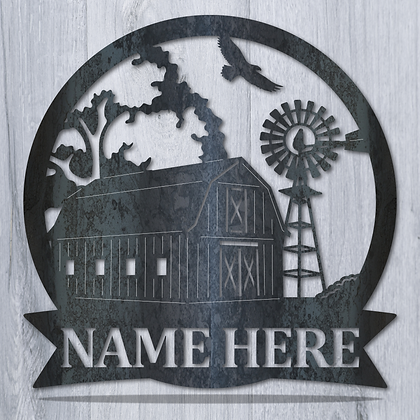 Barn and Windmill Monogram