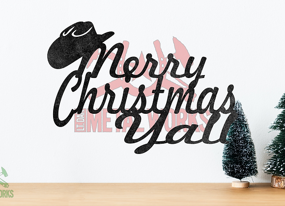 Merry Christmas Y'all with Cowboy Hat
