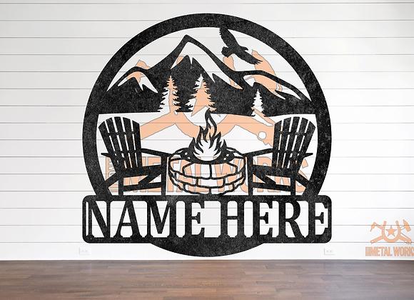 Stone Firepit Camping Monogram