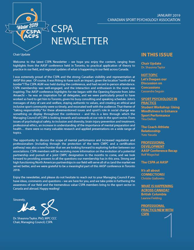 CSPA Newsletter / Bulletin semestriel de l'ACPS