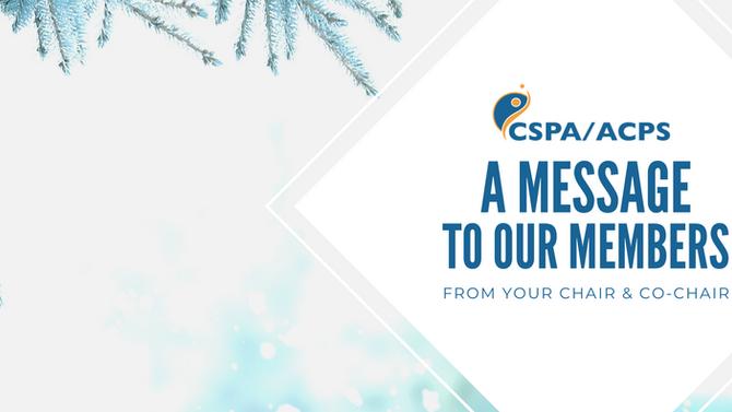 A message to our members | Un message à nos membres