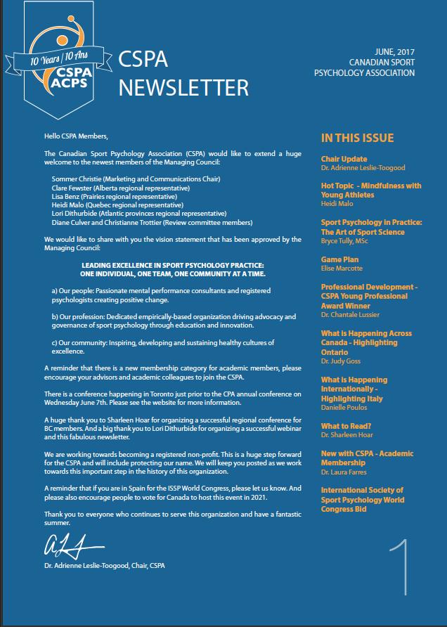 CSPA Summer Newsletter / Bulletin semestriel de l'ACPS