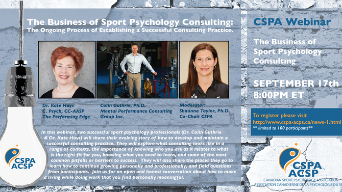 CSPA Webinar #2: The Business of Sport Psychology Consulting