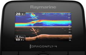 Tela do GPS DragonFly 5PRO Raymarine