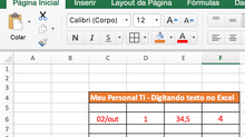 Digitando no Excel