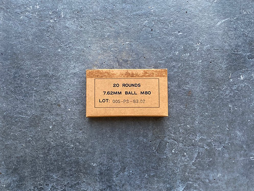 20 Rounds 7.62MM BALL Spent Cases w/ Original Box