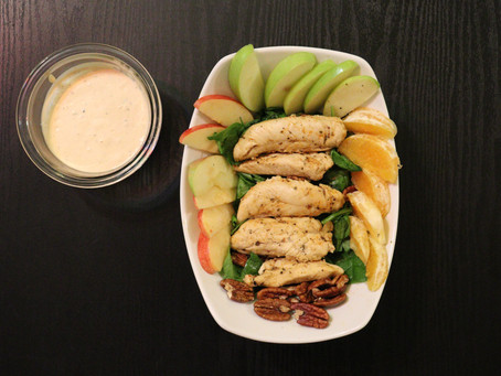 Baby Spinach, Chicken Breast, Pecans, Apples & Oranges w/ a side of Chipotle Ranch