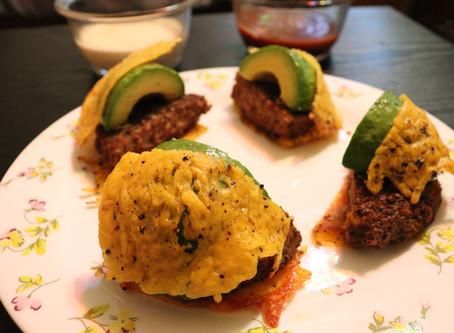 """Avocado & Brisket Burgers w/ Cheddar & Cracked Peppercorn """"Bun"""""""