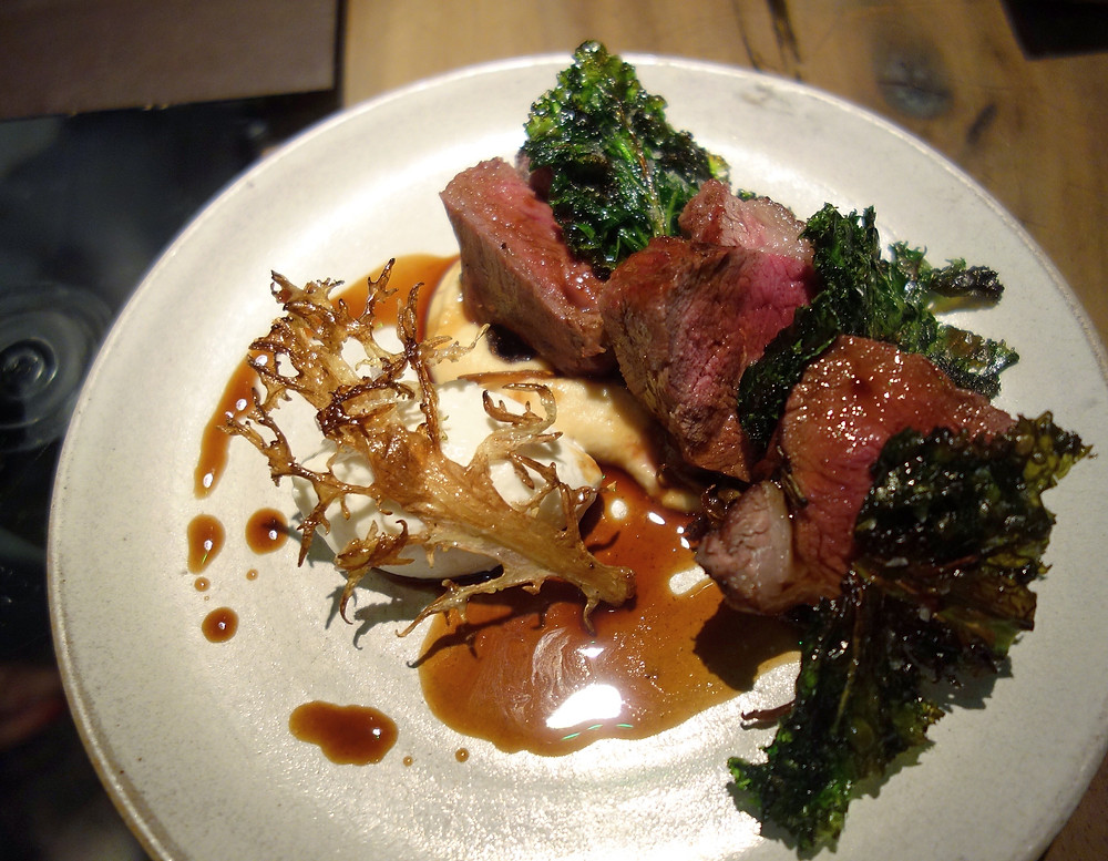 Lamb with kale and goat cheese