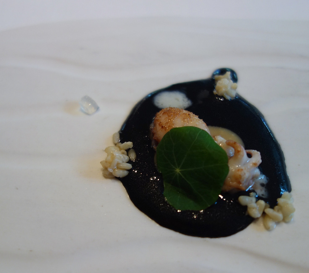 Cattlefish with fermented black rice, sake and parmesan