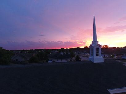 Church steeple at sunset
