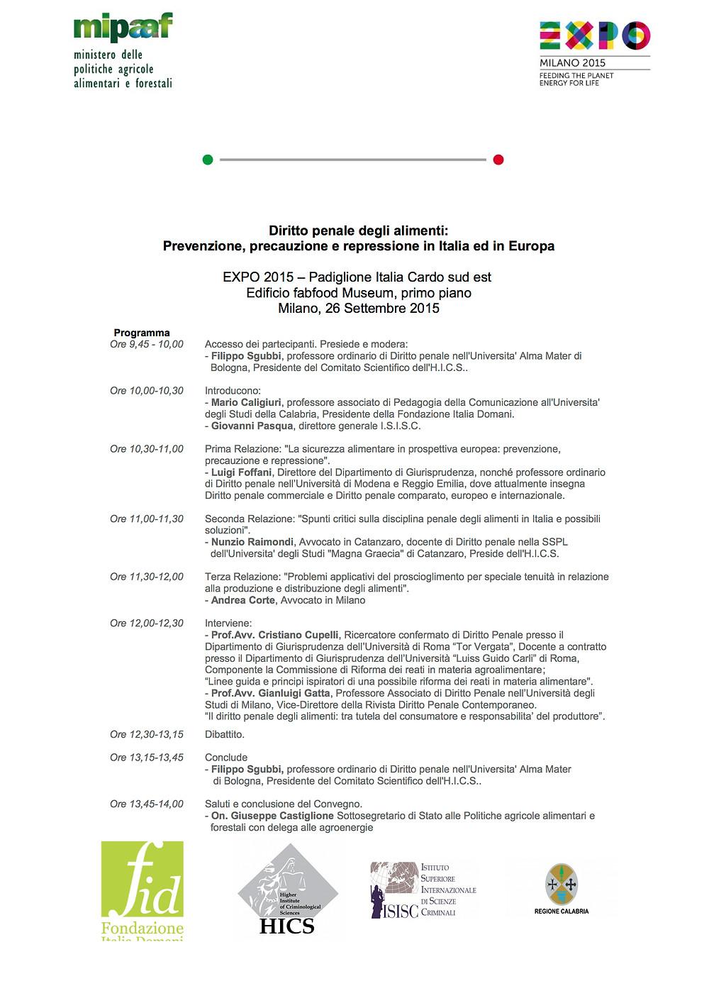 Diritto penale degli alimenti, convegno, Studio Legale Corte, Avv. Andrea Corte, diritto alimentare,