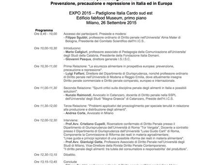 Diritto Penale degli Alimenti: Prevenzione, Precauzione, e Repressione in Italia ed in Europa EXPO