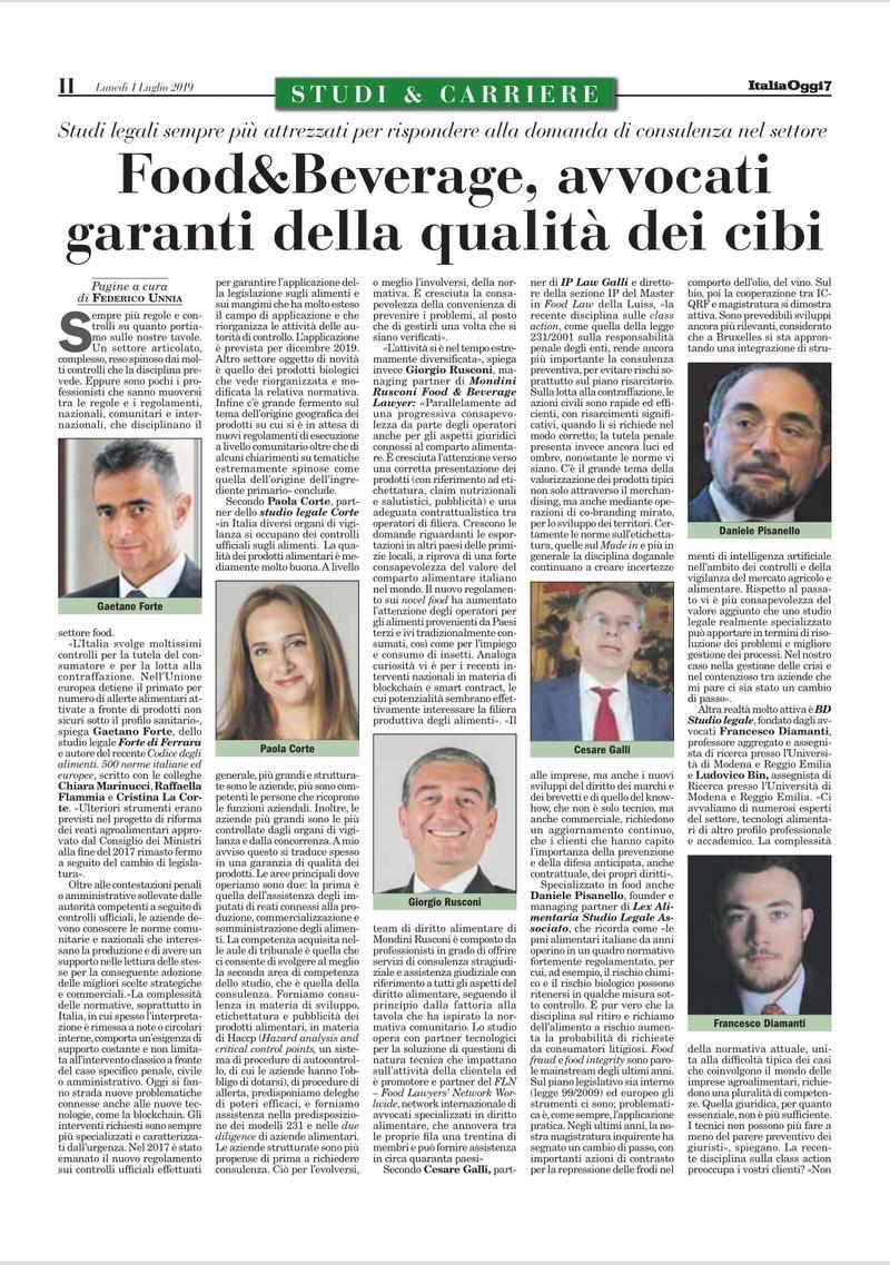 Paola Corte su ItaliaOggi nell'articolo sugli avvocati del Food & Beverage