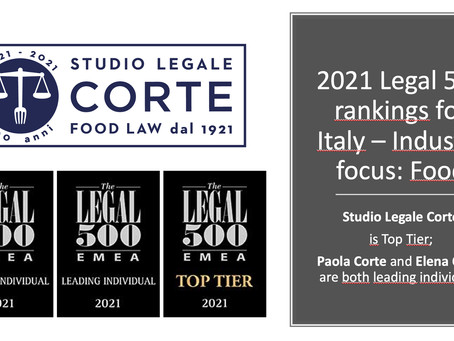 2021 LEGAL 500:  Studio Legale Corte is Top Tier and Paola Corte and Elena Corte leading individuals