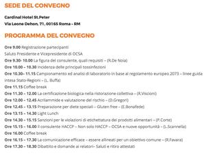 programma del convegno organizzato dalla Organizzazione Consulenti Sicurezza alimentare il 13 dicembre a Roma
