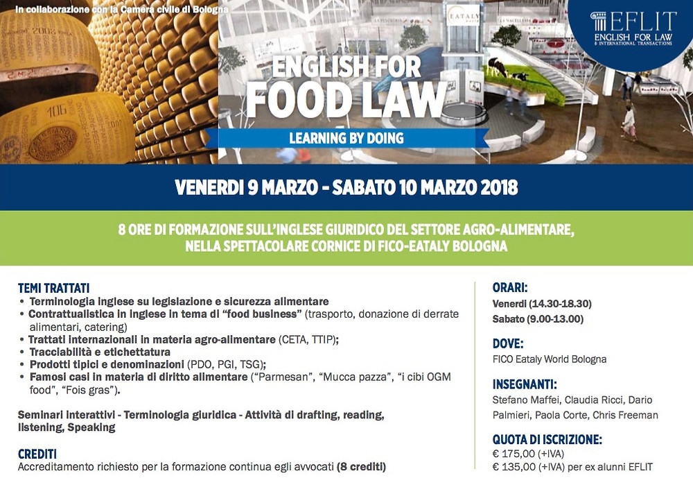 Studio Legale Corte, Paola Corte, English for food law