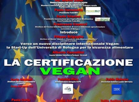 Certificazione di prodotti Vegani al SANA l'8 settembre 2018