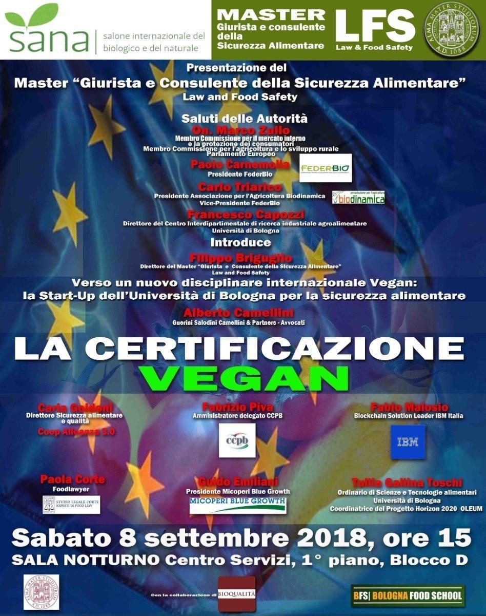 locandina SANA - certificazione dei prodotti Vegani - Studio Legale Corte