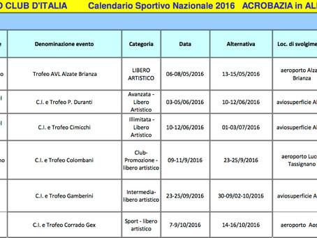 volo acrobatico: calendario gare 2016 per acrobazia in aliante