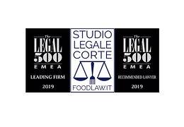 Studio Legale Corte inserito nella directory 2019 EMEA di the Legal 500 - Settore Industriale: Food