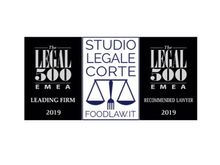 Studio Legale Corte inserito nella directory  2019 EMEA di the Legal 500 - Settore Industriale: Food