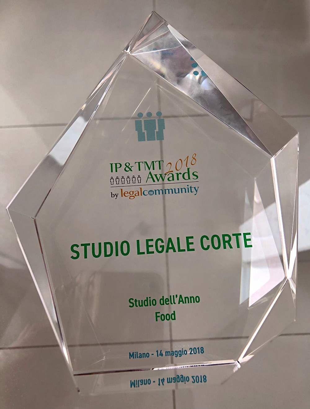 studio dell'anno food, award, Studio Legale Corte, Legalcommunity awards 2018