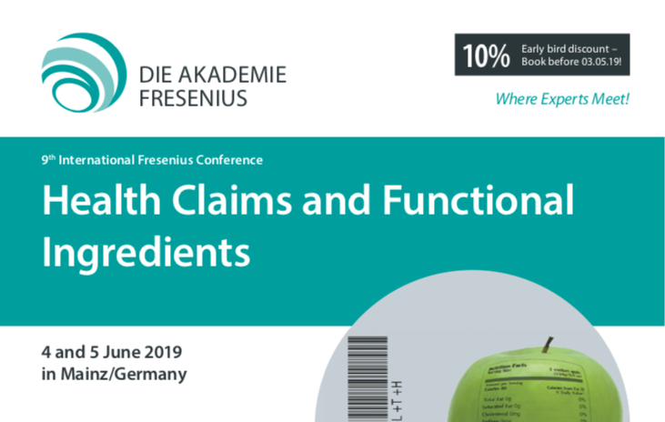 title of the 9th International Fresenius Conference on Health claims and Functional Ingredients where Paola Corte willl speak about Botanicals