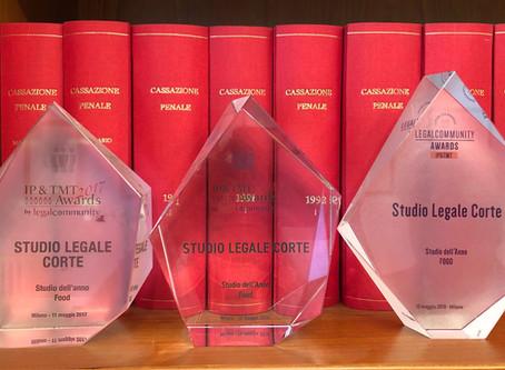 Studio Legale Corte vince l'award come Studio dell'Anno Food per il terzo anno consecutivo