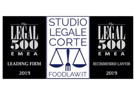 Studio Legale Corte ranked in 2019 EMEA The Legal 500 directory -  Industry focus: Food