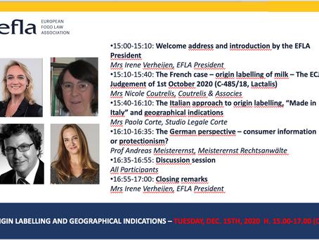 Workshop EFLA su Etichettatura d'Origine e Indicazioni Geografiche in Francia, Italia e Germania