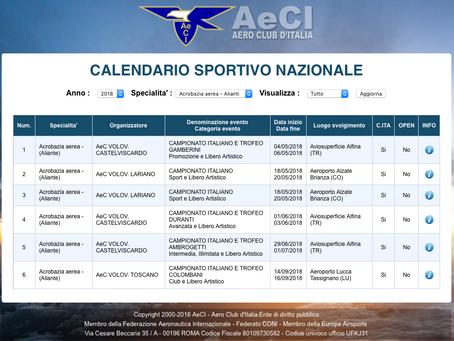 volo acrobatico: calendario del campionato italiano di acrobazia in aliante