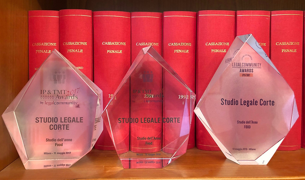 Studio Legale Corte's 3 awards (2017, 2018, 2019) as Food Law Firm of the Year (Legalcommunity)
