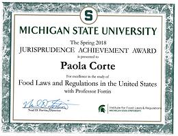 Jurisprudence Achievement Award ottenuto da Paola Corte per gli studi di Diritto Alimentare USA presso la IFLR