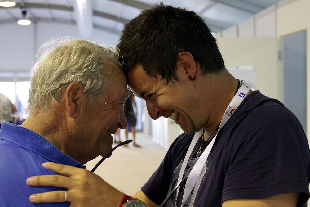 Luca Bertossio and his coach, Sandor Katona