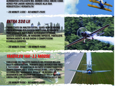 Novità a Flyozzano: Stearman, Extra 330 LX o Yak 11 da provare per tutti!