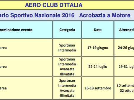 volo acrobatico: calendario gare 2016 per il campionato italiano di acrobazia a motore