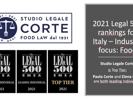 """Legal 500 indica Studio Legale Corte """"top tier"""" per il settore Food, con Paola Corte & Elena Corte"""