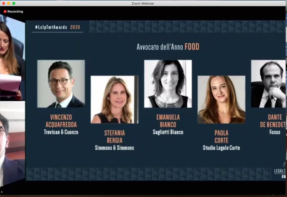i finalisti per il premio Avvocato dell'Anno Food