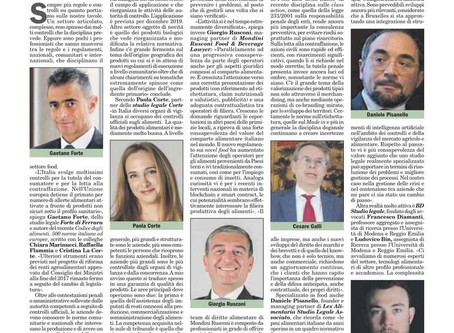 ItaliaOggi interviews lawyers food & beverage field, including Paola Corte (Studio Legale Corte)